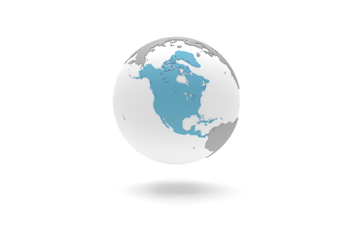 Globe with North America Highlighted