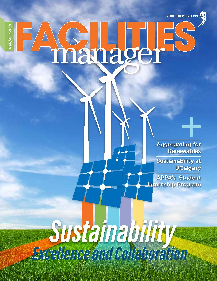 Cover of March/April 2019 issue of Facilities Manager with solar panels and windmills.