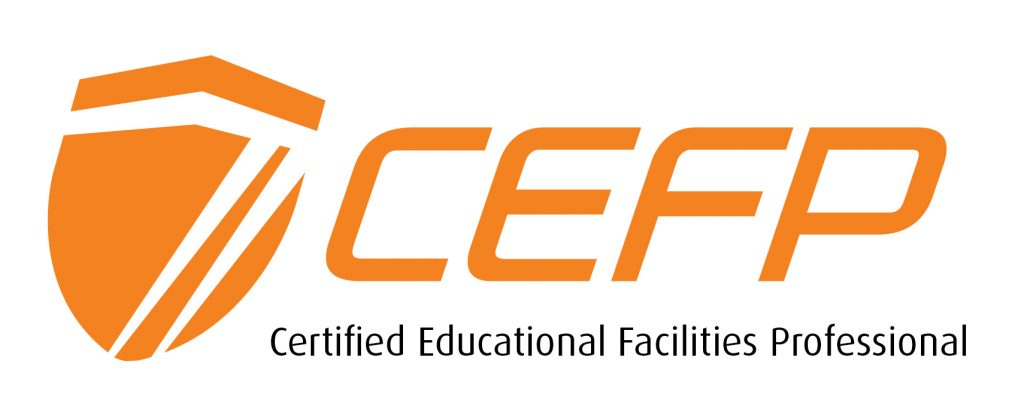 official CEFP logo that stands for the Certified Educational Facilities Professional.  The logo is orange and white.