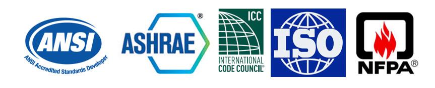 Logo panel - ANSI, ASHRA, ICC, ISO, NFPA