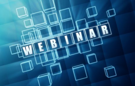 cubes in blue space with the word webinar