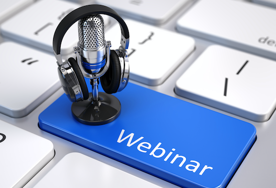 Webinars highlighted in blue on keyboard with microphone and headphones