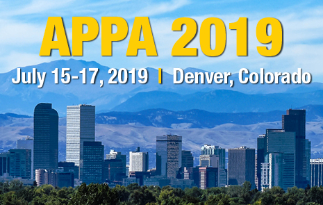 "Skyline of Denver with words ""APPA 2019, July 15-17, 2019, Denver, Colorado."