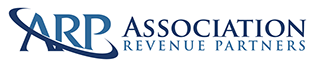 Logo for Advertising Revenue Partners in black and blue fonts