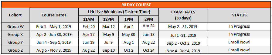 90 Day Course Schedule