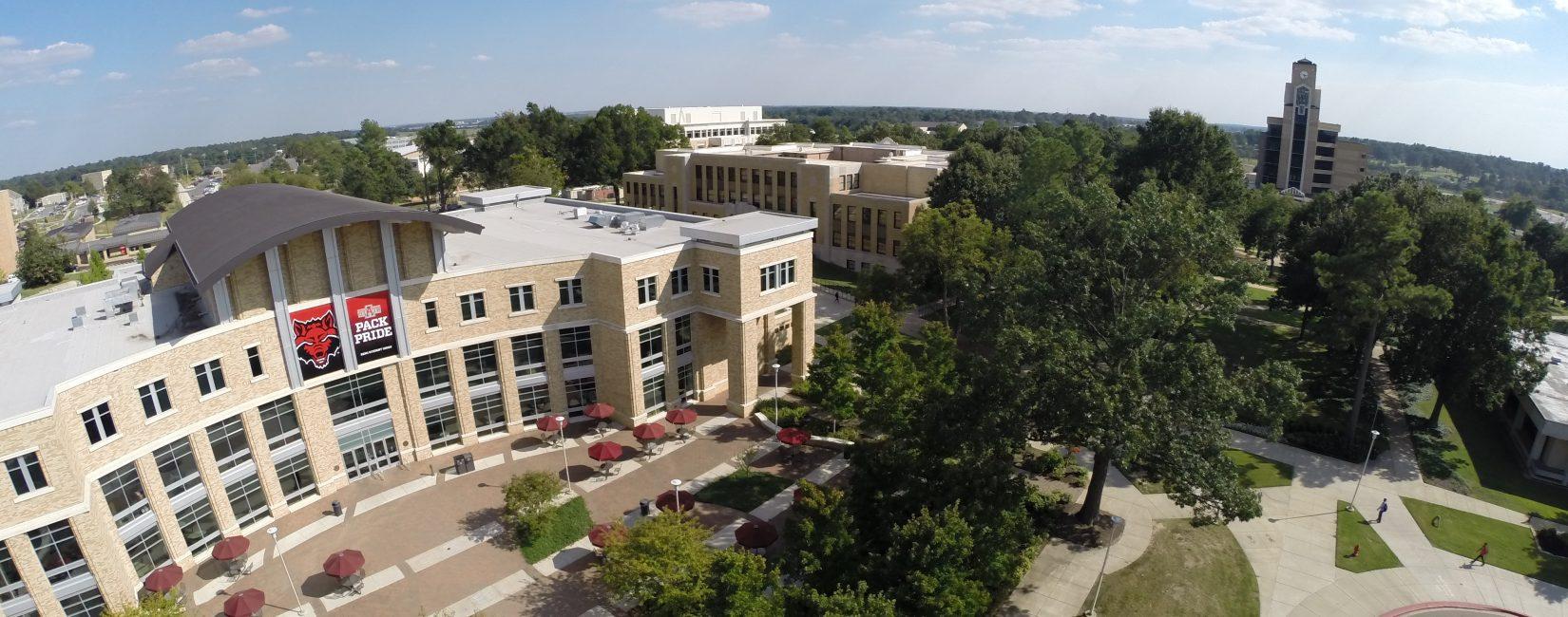 Arkansas State University aerial campus shot.