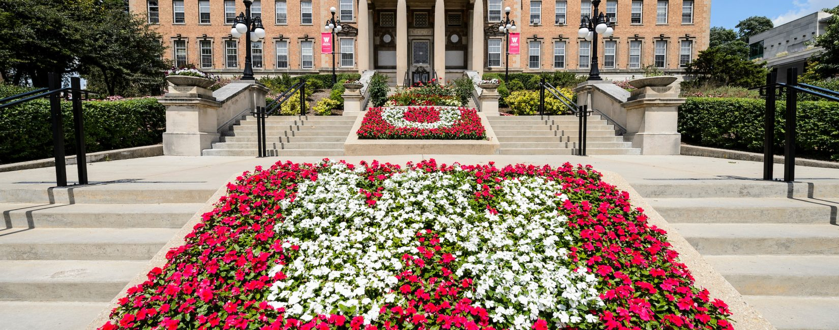 Flowers at entrance of AG Hall U of Wisconsin - Madison.