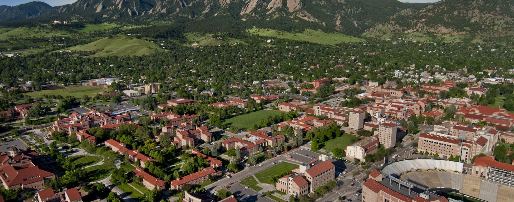 Aerial photo of the University of Colorado Boulder campus. (Photo by Glenn Asakawa/University of Colorado)