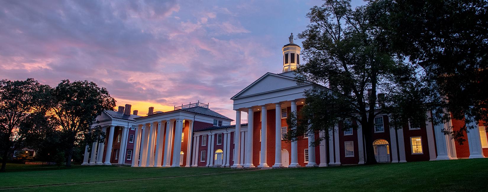 Sunset at Washington and Lee University campus.
