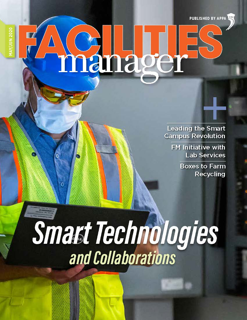 Cover of May/June 2020 issue with worker wearing a mask and holding a tablet.