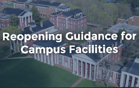 "Aerial View of a campus with wording on top ""Opening Guidance for Campus Facilities"""