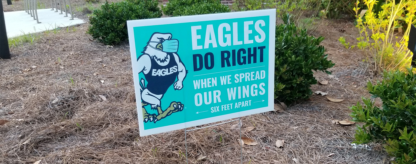 Georgia Southern University Eagles COVID distancing sign.