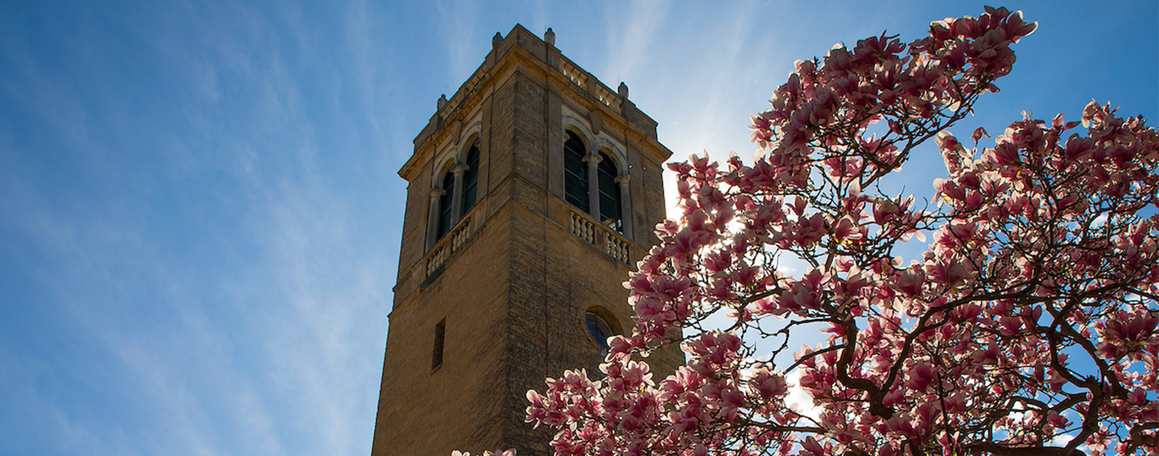 Tower at U of Wisconsin in spring time. Flowers and blue sky.