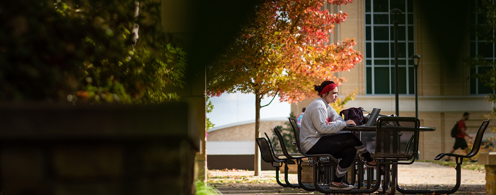 Ohio State University Student studying outside in fall weather.