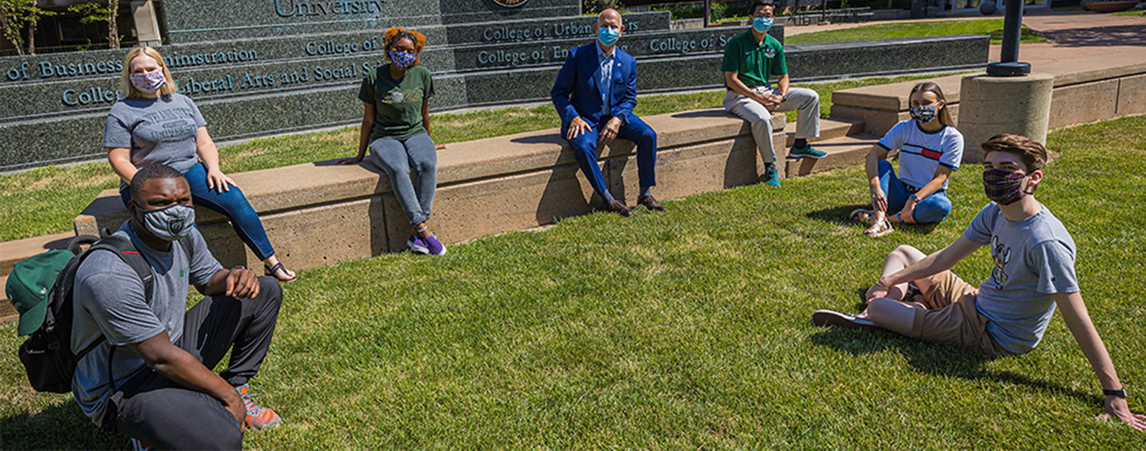 Cleveland State U students in outdoor classroom setting.