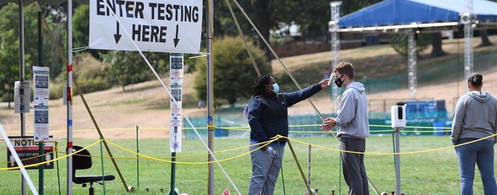 Wesleyan University Student Testing Tent