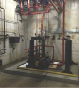 Example of a piping system for building heating and cooling.