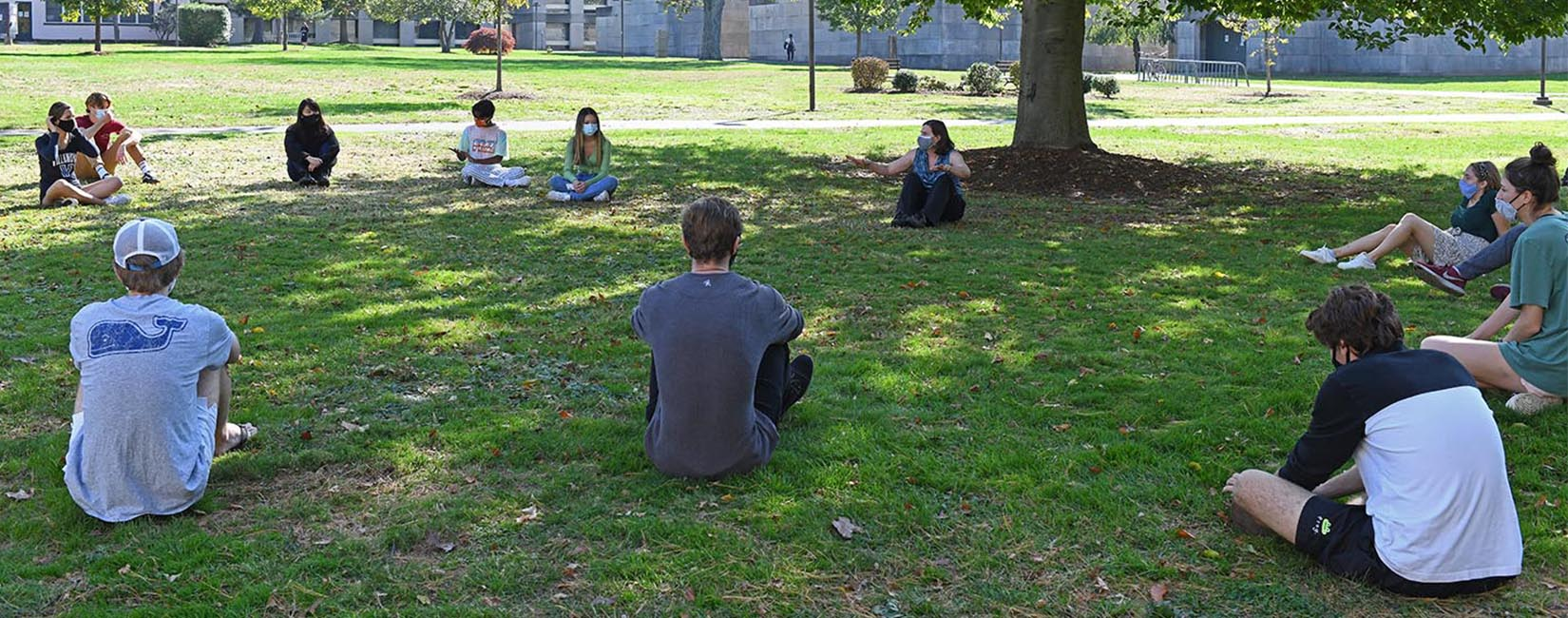 Wesleyan University Students in outdoor classrom.